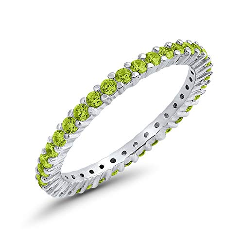Blue Apple Co. Full Eternity Stackable Wedding Band Ring Simulated Peridot Cubic Zirconia 925 Sterling SilverSize-8