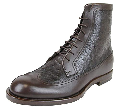 Gucci Men's Lace-up Ankle Boots 322508 (10 US / 40 IT, Brown Osrtich/Leather)
