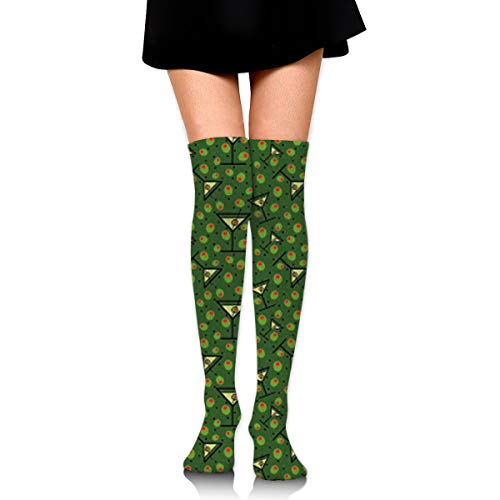 Guoxichangtuiwa Martinis and Olives Pattern Women's Girl's Breathable Cotton Comfortable Fashion Over The Knee High Leg Athletic Thigh Highs Socks,Cosplay Socks -