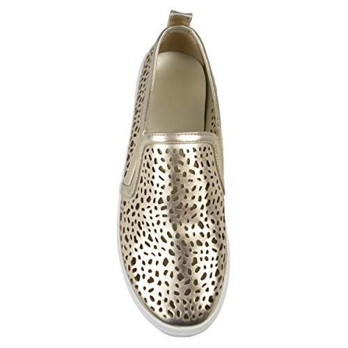 Brinley Co Womens Faux Leather Pull-On Laser-Cut Sneakers Gold HNAJ4hTrIQ