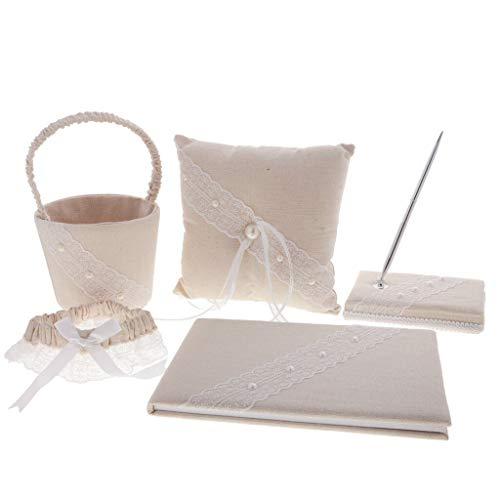 5pcs Burlap Lace Garter Ring Pillow Basket Pen Guest Book Set Wedding Party
