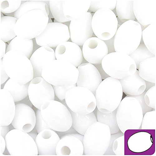 BEADTIN White Opaque 14mm Oval Pony Beads (200pc)