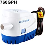 DasMarine 12V Automatic Submersible Boat Bilge Water Pump 760GPH 1100GPH Built-in Auto Float Switch