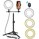 Ring Light, Foxin 6'' Mini Selfie Ring Light with Tripod Stand & Phone Holder for Live Stream/Makeup, Small Desktop Camera Led Ring Light for YouTube Video/Photography Compatible with iPhone Android