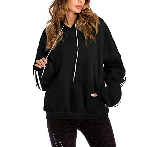 Women Basic Lightweight Pullover Hoodie Sweatshirt with Kangaroo Pocket Casual Long Sleeve Drawstring Pullover Tops Blouse (Black, L)