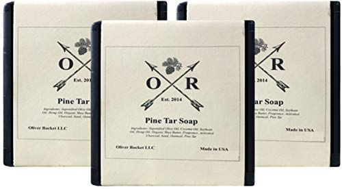 Oliver Rocket Pine Tar Soap (3 bar set) - 5 ounces each - Mens Face and Body Exfoliating Black Soap Bar with Pine Tar and Activated Charcoal - Handmade in USA with Coconut Oil and Olive Oil (Best Pine Tar Soap)