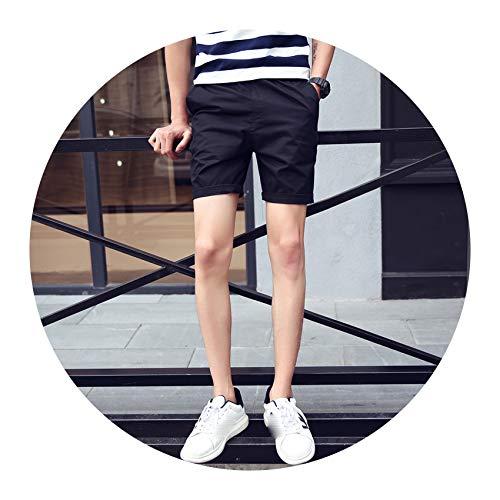 Summer Solid Casual Shorts Elastic Waist Cotton Shorts Beach Shorts Hip Hop Shorts,Black K55,XXL ()