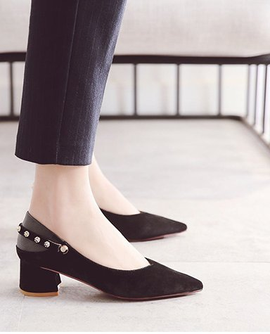 Two With High Leisure Pointed Shoes Wear 4 MDRW Shoes Match All Buckle Rivets Shoes Black Lady Thick 5Cm Heeled A Work 35 Grandma Spring Elegant 1ga8O
