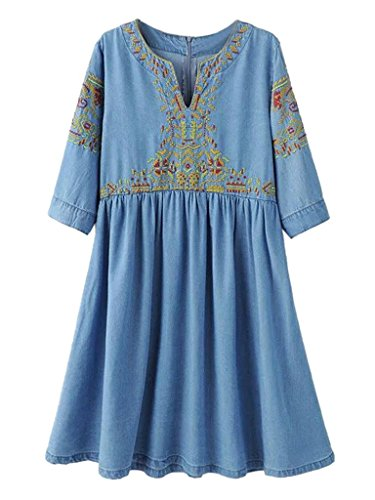 PERSUN Womens Low neck Embroidery Pattern