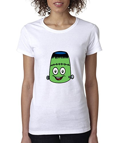 (Sweet Emoji Ladies T-Shirt Halloween Edition Frankenstein Monster Shirts 3XL White em)