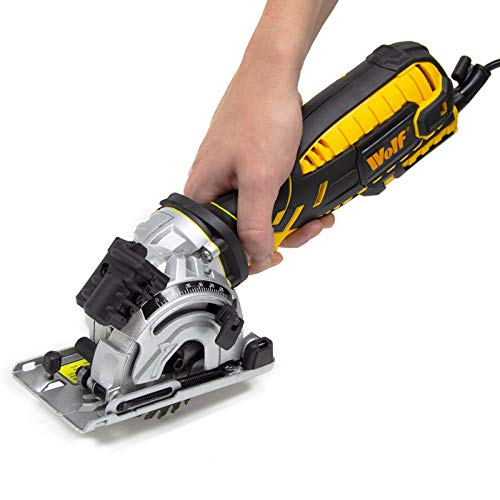 Wolf 89mm Compact Circular Saw 705w Precision Mini Plunge Saw + Laser Guide & 3 Blades