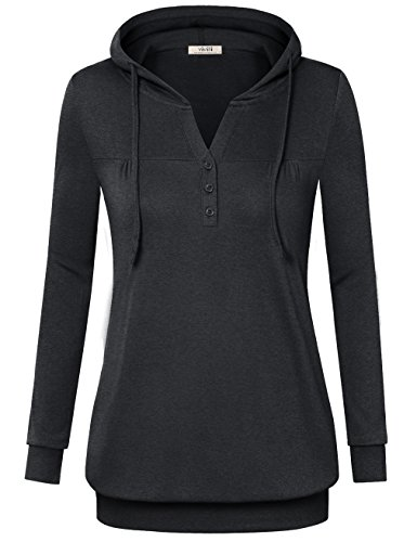 Lightweight Long Sleeve Pullover (Vivilli Womens Hoodies, Ladies Hooded T Shirt Long Sleeve Tunic Lightweight Sweatshirt Buttons Pullover Hoodies Plus Size Carbon Black,XXL)