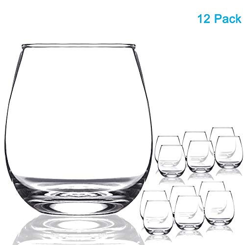 Chef's Star 15 Ounce Shatter-Resistant Stemless Wine Glass Set (12 ()