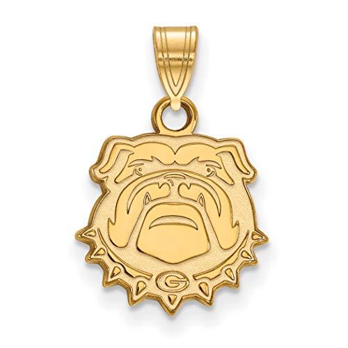 (10k Yellow Gold University of Georgia Bulldogs School Mascot Head Pendant 13x13mm)