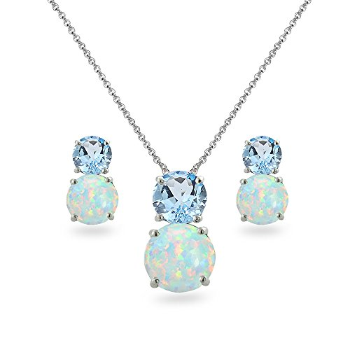 (Sterling Silver Blue Topaz & Simulated Opal Double Round Stud Earrings & Necklace Set)