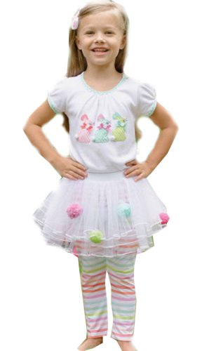 Mud Pie Easter Bunny Pom Pom Tutu Skirt Set (0-6 months)