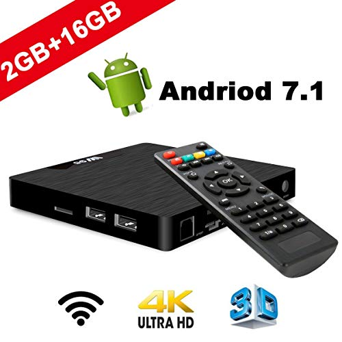 4K Android 7.1 TV Box - SeeKool 2018 Model T Smart TV Box with 2G RAM 16G ROM, Amlogic S905W Quad Core 64 Bit, 4K Ultra HD, Built-in WIFI, USB Port, HDMI & AV Output Media TV Player