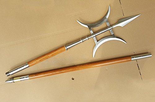 Halberd,Fang Tain Ji(Stainless steel hand-made,Two wood rods/Brass faucet shape)Chinese martial arts