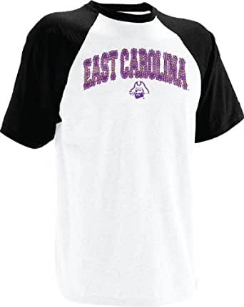 NCAA East Carolina Pirates Men's Short Sleeve Raglan Tee (White/Black, Small)
