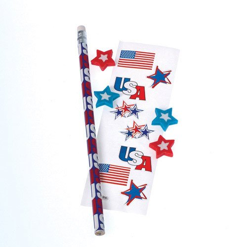 (Lot Of 12 Patriotic Flag Theme Stationary Activity Packs)