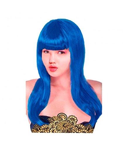 Peluca Lisa Larga Azul Oscuro
