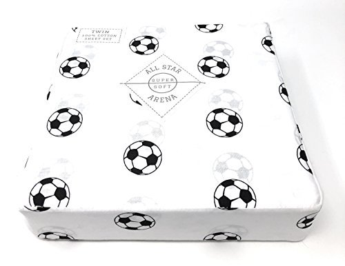 All star arena Soccer TWIN Sheet Set | 100% Cotton | Black and White Football/Soccer Sports