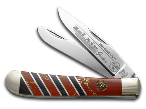 Hen and Rooster Bel Air Red Matrix Stone Trapper Stainless Pocket Knife Knives