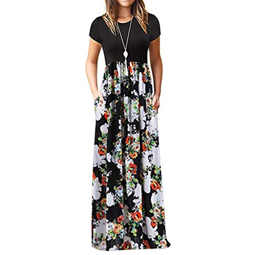 Ulanda Elegant Women's Maxi Dress Floral Printed Autumn Long Sleeves Casual Tunic Long Maxi Dress ... (X-Large, White Floral)