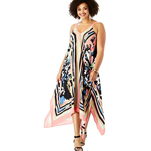 Roamans Women's Plus Size Scarf-Print Maxi Dress with Handkerchief Hem - Coral Abstract Floral, 12
