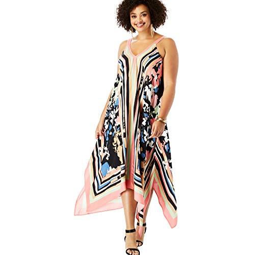 Chiffon Handkerchief Dress - Roamans Women's Plus Size Scarf-Print Maxi