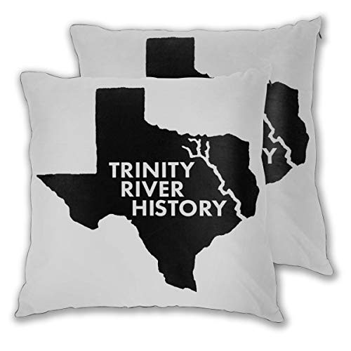 Kui Ju Pack of 2 Throw Pillow Covers Trinity River History for Bed Sofa Car Pillow Case,Sleeping Pillow Soft Cushion ()