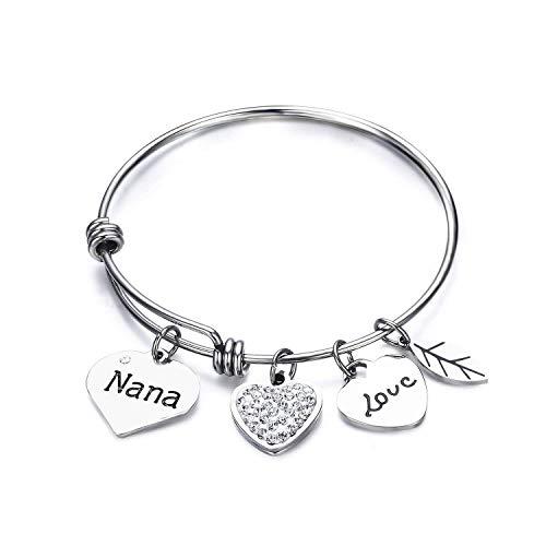 Luvalti Grandma Nana Love Heart Charm Bracelet Adjustable Bangle Gift for ()