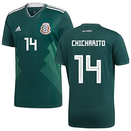 ペンフレンドなぜなら疑い者サッカーMEXICO (メキシコ)ワールドカップ 2018ホームユニフォーム半袖(グリーン)(男性)#14 JAVIER HERNANDEZ Chicharito