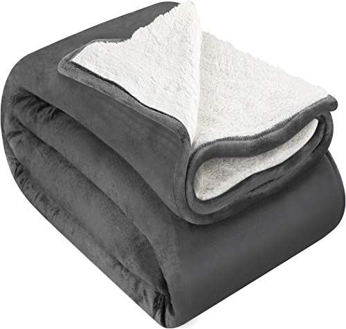 Utopia Bedding Sherpa Flannel Fleece Reversible Bed Blanket Extra Soft Brushed Microfiber (Throw, Grey)