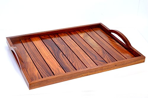 Hashcart Indian Rosewood Sheesham Wood Handmade  Handcrafted Wooden Serving Tray for Dining Tableware, Table Décor, Kitchen Serveware Dining Accessor…