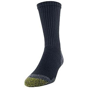 Gold Toe Men's Cotton Crew 656s Athletic, Work Black/Grey (6 Pack), Shoe Size: 6-12.5 (Sock Size: 10-13)