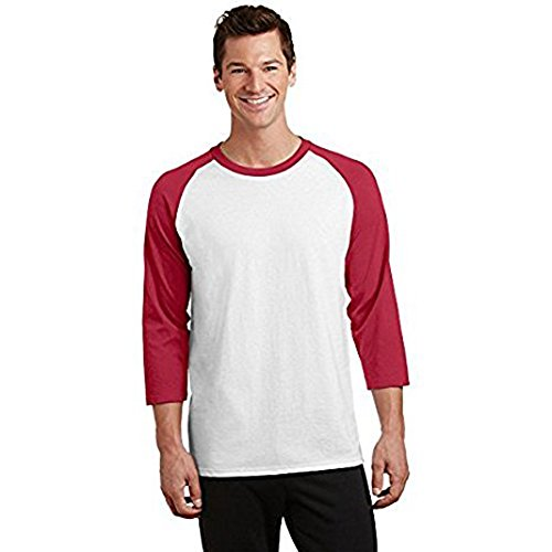 About Baseball T-shirt - Singles Three Quarter Sleeve Baseball Raglan T-Shirt Men's By MareLight (X - Large, White/Royal)