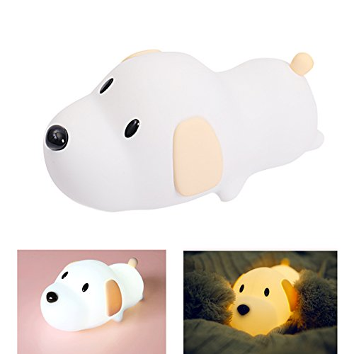 Puppy Night Light (S NMT Silicone LED Papa Puppy Night Light Eco-friendly Switching Night Lamp, Transform between Warm White 2700K and White 6500K, USB Rechargeable for Girlfriend Adult Kids Babies Bedroom and Nursery)