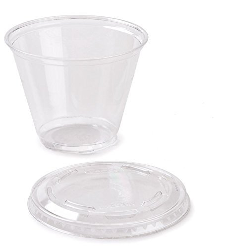 50 Count Plastic CLEAR 9 oz Squat Cup and Non-vented Flat Lid, Parfait Cup w/ Signature Party Picks by Happy Hour Supplies