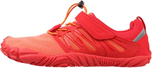 WHITIN Men's Trail Running Shoes Minimalist Barefoot 5 Five Fingers Wide Width Toe Box Gym Workout Fitness Low Zero Drop Male Walking Trainer Cross Training Crossfit Orange Red Size 8 by WHITIN (Image #2)