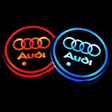 Bearfire Car Logo LED Cup Pad cup holder light USB Charging Mat Luminescent Cup Pad LED Mat Interior Atmosphere Lamp Decoration Light fit ad