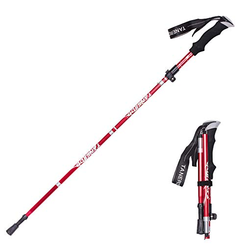 Collapsible Walking Sticks for Hiking | 4-Section Folding Walking Poles | Quick Lock Trekking Poles | Comfortable EVA Grip | Aluminum Hiking Sticks | for Walkers and Hiker (red)