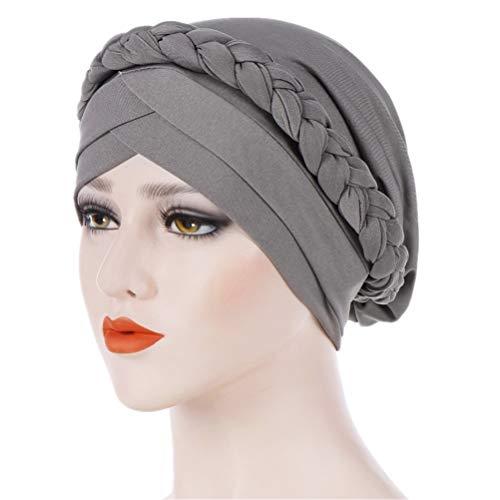 - Fxhixiy Hijab Braid Silky Turban Hats for Women Cancer Chemo Beanies Cap Headwrap Headwear (Gray)