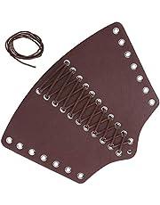 Leather Arm Guards, Adjustable Punk Wrist Guard Retractable Gauntlet Medieval Bracers Punk Bracers Leather Gauntlet for Man Woman