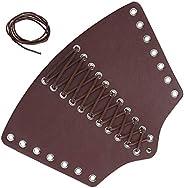 Leather Arm Guards, Adjustable Punk Wrist Guard Retractable Gauntlet Medieval Bracers Punk Bracers Leather Gau