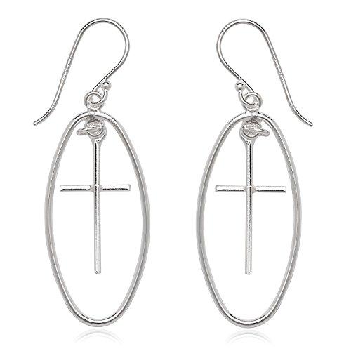 (Sterling Silver Open Oval with Cross Dangling Earrings)