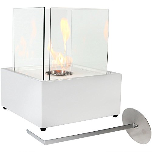 Sunnydaze White Large Cubic Ventless Tabletop Bio Ethanol (Portable Ethanol Fireplace)