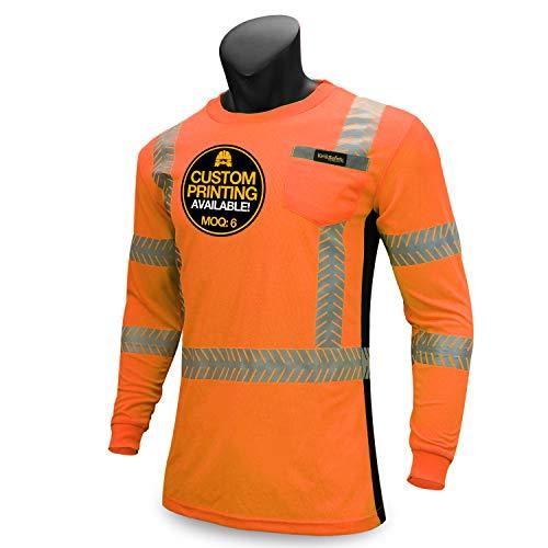 (KwikSafety (Charlotte, NC) RENAISSANCE MAN (with POCKET) Class 3 ANSI High Visibility Safety Shirt Fishbone Reflective Tape Construction Security Hi Vis Clothing Men Long Sleeve Orange Black Large)