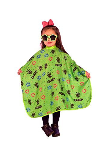 King Midas Professional Kids Hair Cutting Cape''Kiddie Graffiti'' Children's Barber Cape With Snap Button Closure-Super Cool With Extra Length (Green) by King Midas