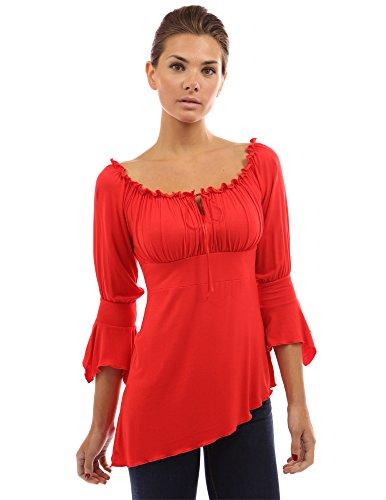 Rouge chemise Femme manche asymetrique PattyBoutik avec mi longue c0qzvT